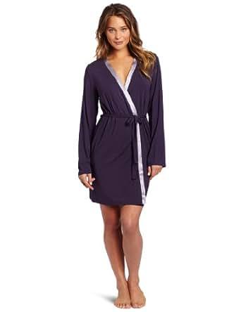 Calvin Klein Women's Essentials Short Robe, Intricate Plum, X-Small