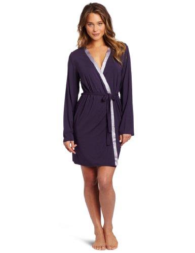 Calvin Klein Women's Essentials With Satin Long Sleeve Short Robe