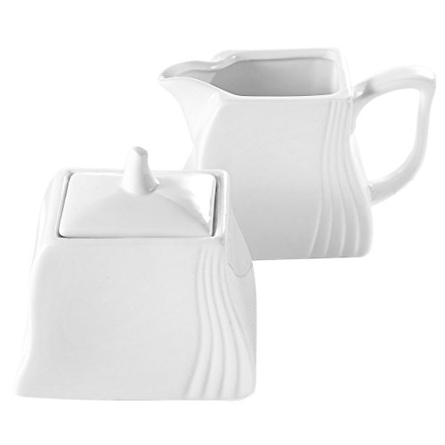 Pot White Milk (Malacasa, Series Amparo, 3-Piece Ivory White Porcelain Ceramic Sugar and Creamer Set Serving for Coffee and Tea of Milk Jug and Sugar Pot (with Lid))