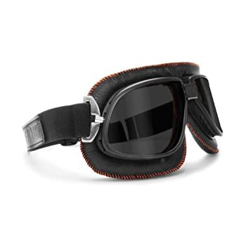 Vintage Motorcycle Goggles Dark Lenses - Black Leather w Orange Stitching - By Bertoni Italy - AF196A Motorbike Aviator Goggles