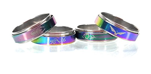 Tribal Steel Ring Spinner Design (Rising Phoenix Industries Rainbow Stainless Steel Spinner Ring, Holographic Large Size Fidget Rings Set (10))