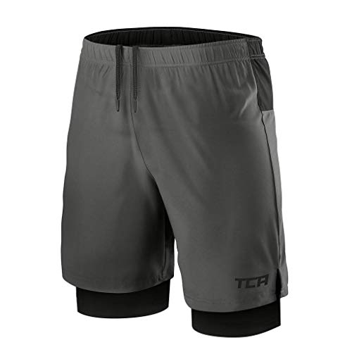 - TCA Mens Ultra 2 in 1 Running Shorts with Inner Compression Short and Zip Pocket - Asphalt/Black, L