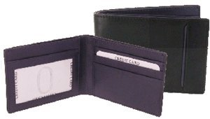 Personalised soft black & aubergine calf leather wallet slim notecase credit card case - Add Name/Initials ()