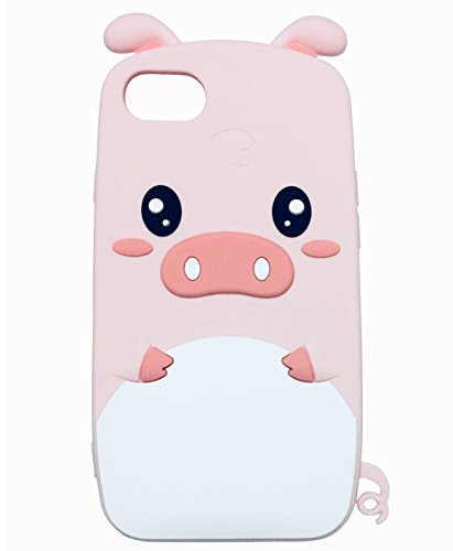 iPhone 8 Case, TopFunny iPhone 7 Silicone Case 3D Cute Cartoon Pink Pig Soft Silicone Rubber Bumper Protective Gel Cover Shockproof Case for Apple iPhone 8/7 4.7