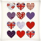 Custom Fashion Home Decor The Union Jack British Flag Love Heart Throw Pillow Cover Cushion Case 18x18 (Twin sides)