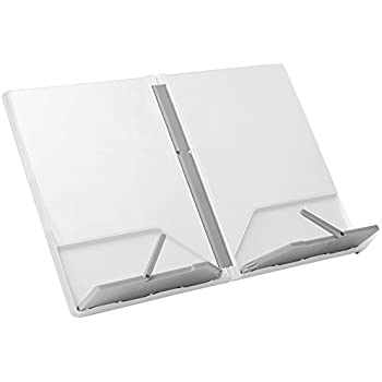 Joseph Joseph 40051 Cookbook and Tablet Stand Holder Reading Rest Folds Flat with Page Holder, White