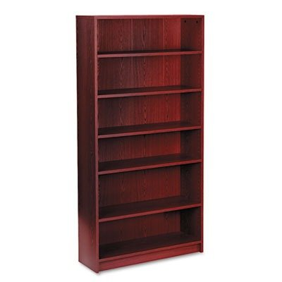 HON 1870 Series Bookcase, 6 Shelves, 36 W by 11-1/2 D by 72-5/8 H, Mahogany