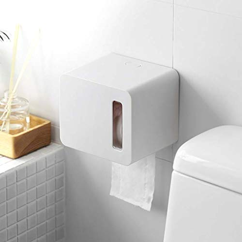 SLOUD Toilet Paper Holder no Drilling Self Adhesive Wall Mount Waterproof Tissue Roll Holder Bathroom Accessory Kitchen Hotel-White