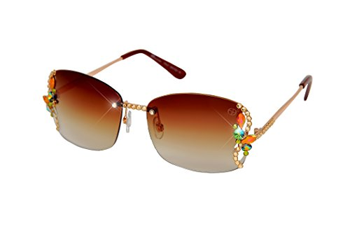 William Wang Women's Designer Sunglasses with Hand Set Swarovski Crystal Jewels (Brown, - Brown Lens Aurora