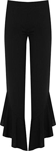 WearAll Women's Plus Flared Frill Asymmetric Hem Plain Trousers Stretch Pants - Black - US 12-14 (UK 16-18)