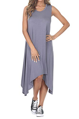 iliad USA 7013 Womens Sleeveless Hankerchief Hem Loose Midi Dress Grey S