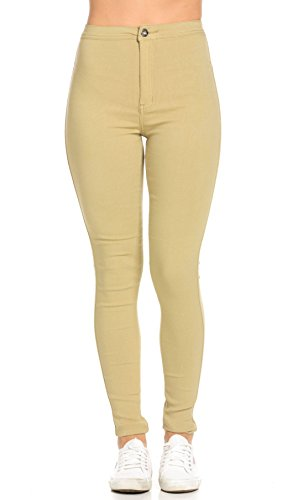 Khaki Color Jeans - SOHO GLAM Super High Waisted Stretchy Skinny Jeans in 10 Colors (S-XXXL) Khaki