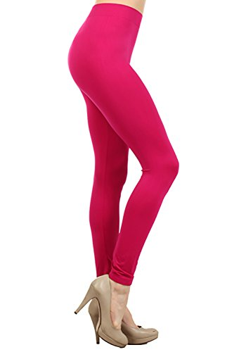 NeonNation Colored Seamless Leggings Athletic Pants Costume Party Tights (Dark Pink) -