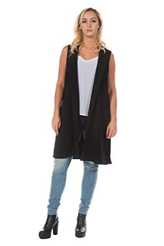 Women's Plus Black Menswear Inspired Sleeveless Work Waistcoat Long Blazer Vest (2XL)