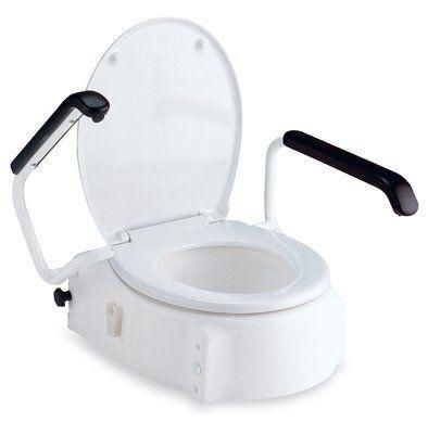 Invacare Toilettensitzerhöhung mit Deckel und 3-fach einstellbarer Sitzhöhe ( 6,10 und 14 cm ) - 1 Stück