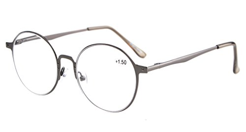 Eyekepper Readers Quality Spring Hings Retro Round Reading Glasses Gunmetal - Face For Glasses Reading Round