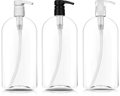 - Empty Shampoo Bottles with Pumps, 32oz/1Liter/Large, BPA-FREE, Lightweight(Medium Density PETE1 Plastic)