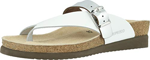Mephisto Women's Helen Mix White Patent/Nickel Star 37 B EU - Patent Cork Sandals Platforms Heels