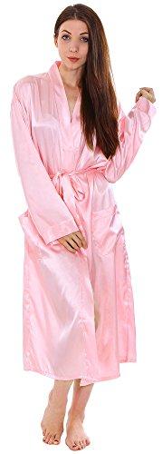Simplicity Unisex Long Satin Kimono Bath Robe Sleepwear Pink