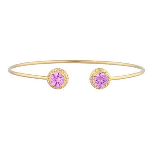 (14Kt Gold Pink Sapphire & Diamond Round Bangle)
