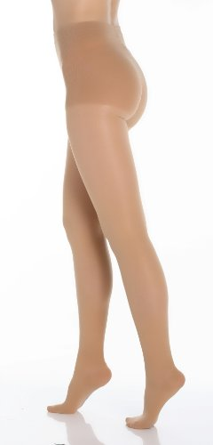 BriteLeafs Sheer Compression Pantyhose 20-30 mmHg, Firm Support, Closed Toe (Medium, Beige)