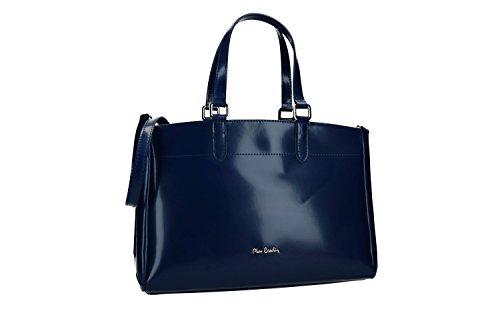 Bolsa mujer de mano bandolera PIERRE CARDIN azul cuero Made in Italy VN1446