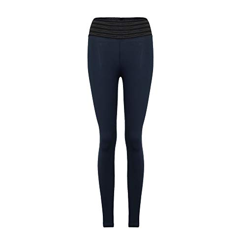 Orangeskycn Womens Juniors High Elasticity High Waist Gym Active Pleated Leggings Dark Blue