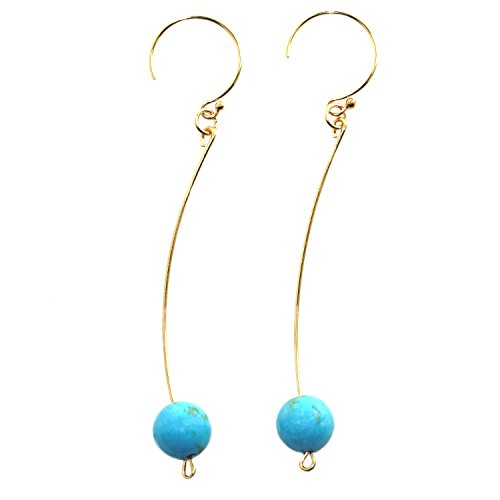 Handmade 14-kt Gold-Filled  Brass Delicate Earrings with Beads Turquoise Magnesite