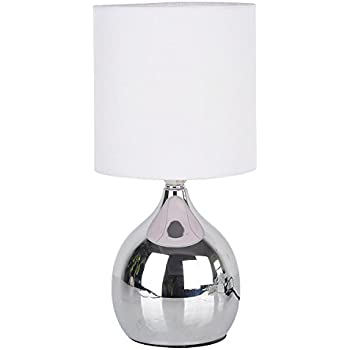 Touch lamps bedside 4 stage 12h chrome table desk light fabric shades white