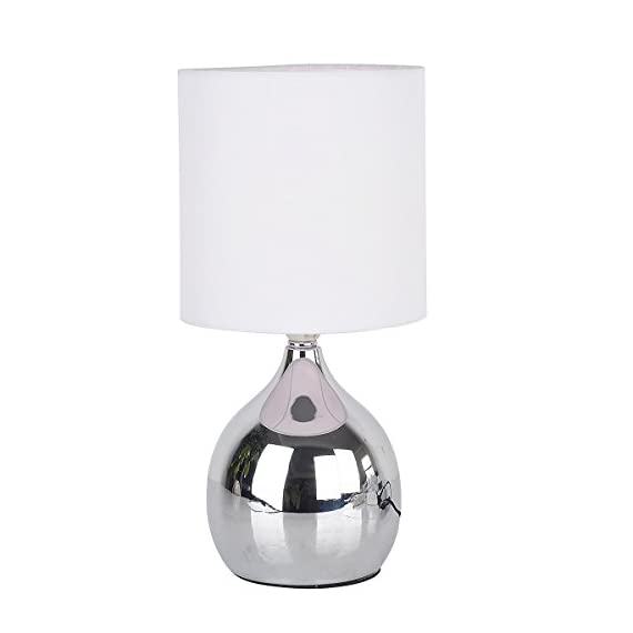 WERFACTORY White Mini Touch Control Table Nightstand Bedside Lamps White Fabric Shades 4 Stage W15H30CM Modern Chrome Small Table Desk Reading Light - Touch Lamp Height: 30cm (12inch) / Diameter of Shade: 15cm (6inch) with Frabic Shade 4 Stage Touch Dimmer - Low, Medium, Bright and Off, Good as bedside desk lamp Free incandescent Bulb Including ($2 value) : Bulb Fitting: E14 SES , Max Wattage: 40w ( Mini Small touch Table lamp) - lamps, bedroom-decor, bedroom - 31JJqxOwtGL. SS570  -