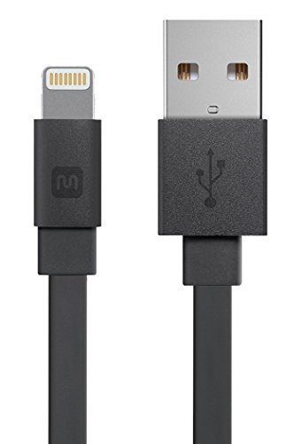 Monoprice Apple MFi Certified Flat Lightning to USB Charge & Sync Cable - 3 Feet - Black Compatible with iPhone X, 8, 8 Plus, 7, 7 Plus, 6, 6 Plus, 5S, iPad Pro - Cabernet Series ()