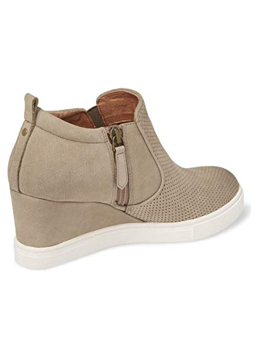 Womens Wedge Platform Sneakers Ankle Booties Heel Zipper Faux Leather Comfort Casual Shoes by LAICIGO