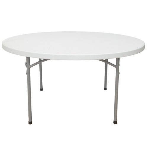 Table Stacking Outdoor - National Public Seating BT-R Series Steel Frame Round Blow Molded Plastic Top Folding Table, 1000 lbs Capacity, 60