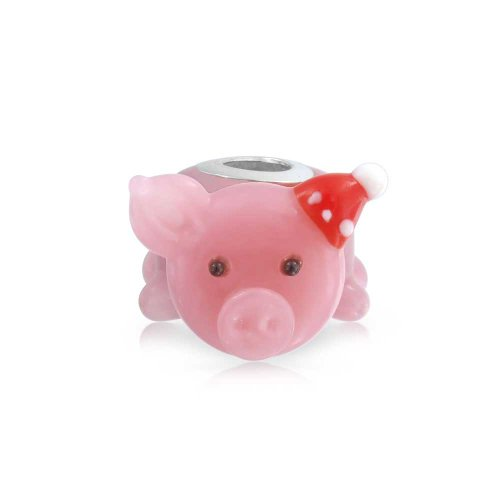 Christmas Santa Hat Lampwork Murano Glass 3D Pink Pig Bead Charm For Women For Teen 925 Sterling Silver ()
