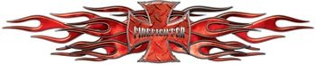 Flaming Maltese Cross Firefighter Decal - Red - 5