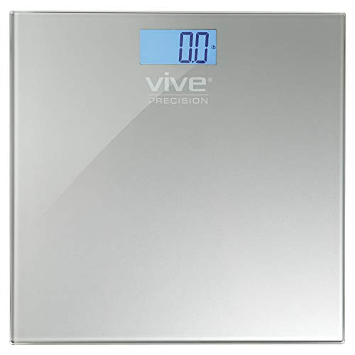 Vive Precision Bathroom Scale - Heavy Duty Electric Body Weight Measuring Device - Digital Home Bath Scale, Easy to Read, Backlit Display - Accurate Dietary Weighing (Silver)