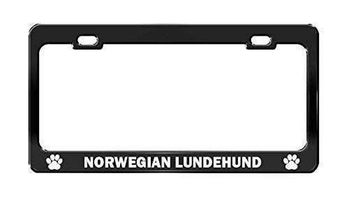 Norwegian Lundehund License Plate Tag Holder Metal Frame Car Tag Frame Auto License Plate Tag Holder Metal Holder 12in x 6in