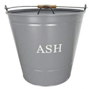 Black Country Metal Works Ash Bucket with Lid in Smoke Grey