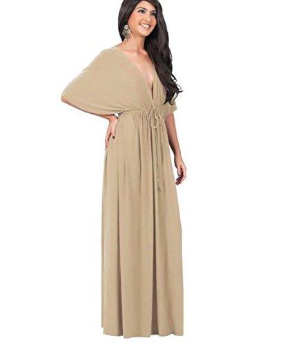 Khaki Gradient Evalent Color Backless Halter Women's Dress Vintage Sleeveless Maxi V Neck Deep Beach 8ZrOI8Wwq