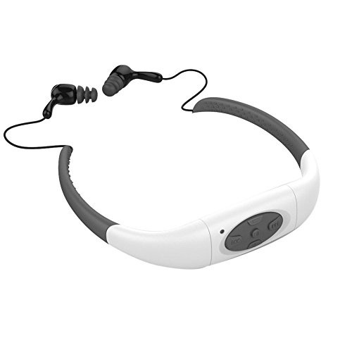 GDreamer Waterproof Mp3 Player Earphones 8GB Swimming Headset Under Water Music Player for Swimming,Surfing,Diving-WhiteG