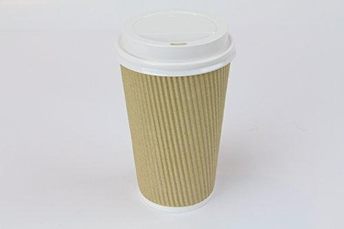 Rippled Brown Coffee Cups Set of 50 Disposable & Reusable Coffee Cup Insulated Hot Coffee Cups with Lids