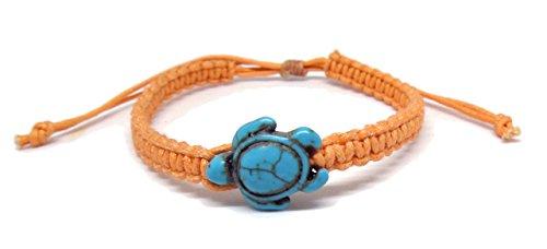 [Sea Turtle Hemp Macrame Bracelet - Hawaiian Craftier Orange Cream Tortoise Adjustable Wristband for] (Rock And Roll Costumes Diy)