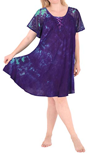 Heart Dye Tie Dress - LA LEELA Women's Rayon Tie-Dye Short Beach Dress OSFM 14-20W [L-2X] Violet_A10