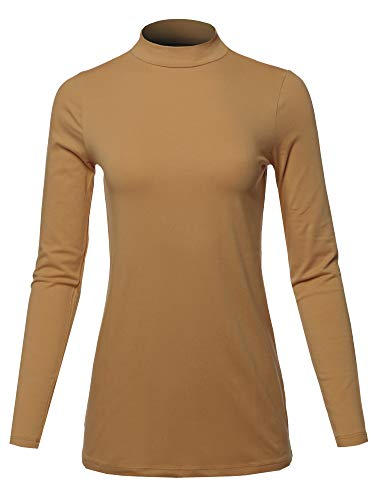 A2Y Basic Solid Soft Cotton Long Sleeve Mock Neck Top Shirts, Yawtel0002 Coffee, Large