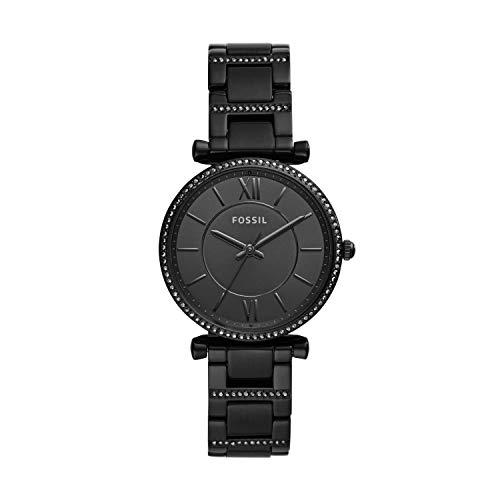 Fossil Women's Carlie Three Hand Black-Tone Stainless Steel Watch ES4488