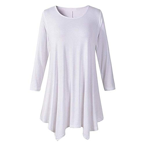 Et Blanc Rond Shirts Chemisier Costume 3 Chic Color Manches 3XL Elgante Tops Casual Haut Femme Size Chemise Col 4 Irrgulier Unicolore Ourlet Confortable Fit Fq1I5