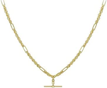 Carissima Gold Women's 9ct Yellow Gold T-Bar Figaro Rope Chain Albert Clasp Necklace - 51cm/20""