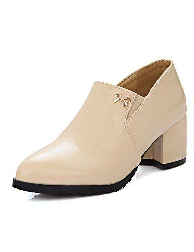vestido Zapatos tacones Mujer Zq Punta 5 Robusto us7 tacones 5 Redonda Eu38 us7 De Rosa Black negro tac¨®n Almond Cn38 Uk5 semicuero 5 Almendra zqqE8xw4d
