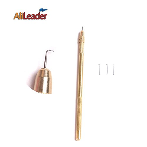 AliLeader Brass Ventilating Holder And 4 Different Size Stainless Steel Needles 1 1 1 2 2 3 3 4 For MakeRepair Lace Wigs