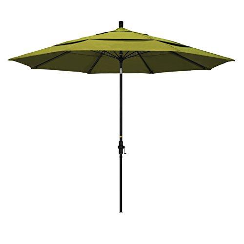 California Umbrella 11' Round Aluminum Pole Fiberglass Rib Market Umbrella, Crank Lift, Collar Tilt, Black Pole, Kiwi Olefin